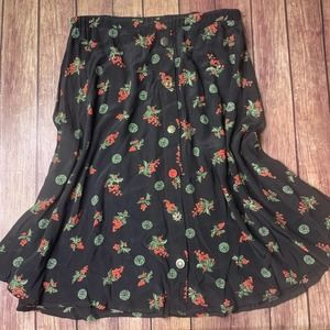VTG Mismatched Buttons Grapes Graphic Skirt